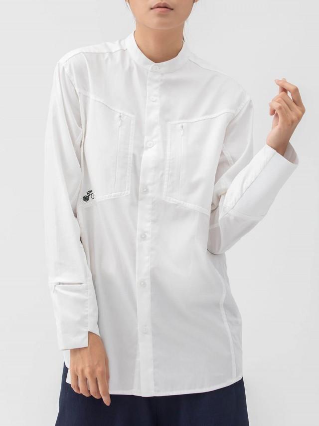 WEAVISM 【跟風 】胸前口袋洞洞拼接襯衫 - 白