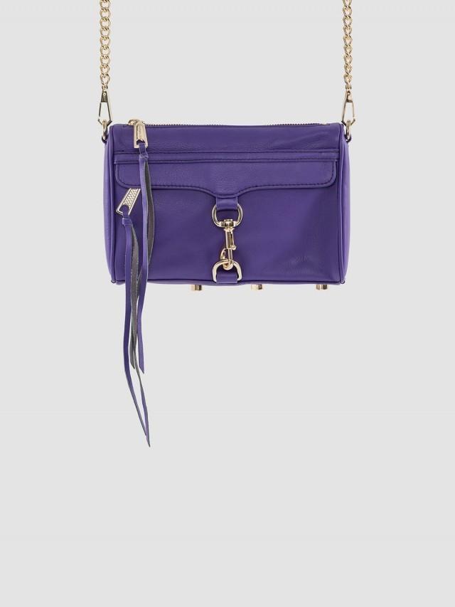 REBECCA MINKOFF MINI MAC 肩 / 斜背包 - 金鍊 x 紫色