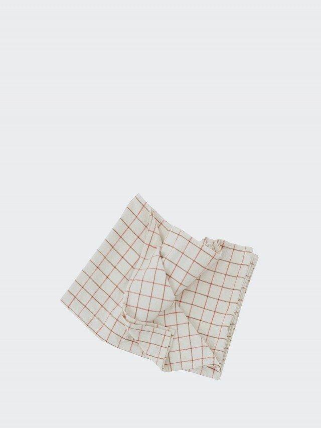 OYOY Gird 有機純棉格紋桌巾 - 清新紅白 x 小