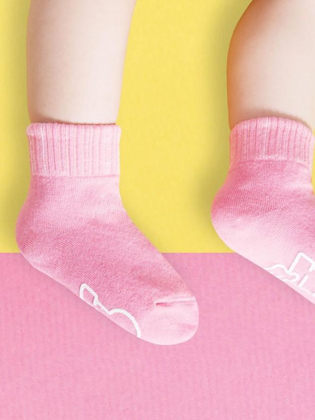 sokker 馬卡龍防滑 2 分之 1 童襪 - 櫻花粉