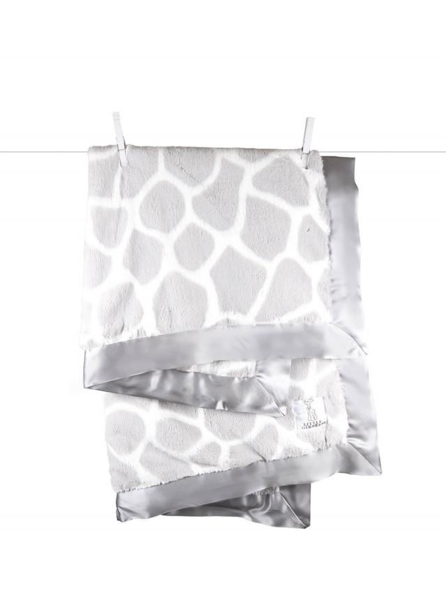 Little Giraffe 豪華長頸鹿紋嬰兒毯 - 銀色