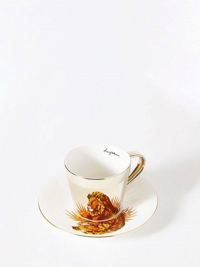 Luycho 鏡面倒影動物圖案咖啡杯 - 獅子
