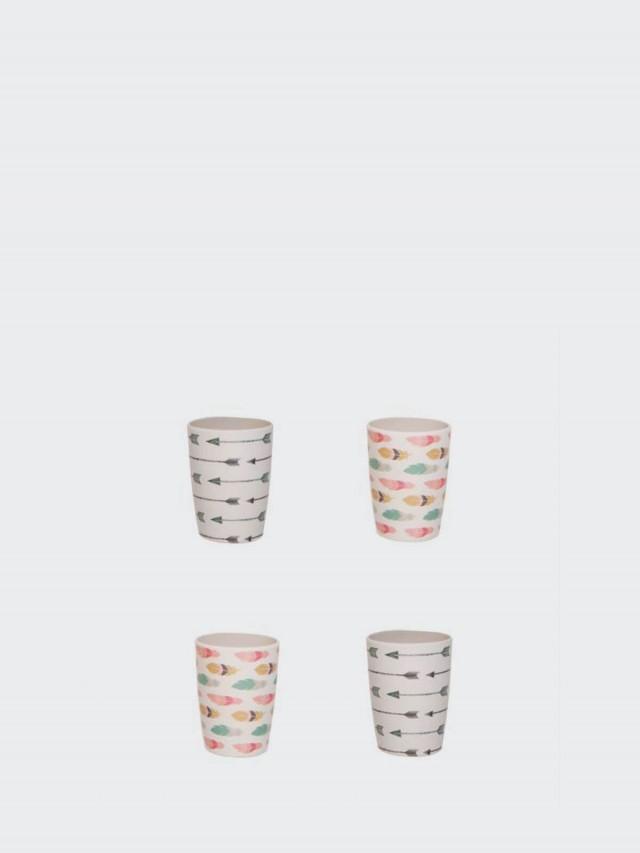 love mae 竹纖維杯子 4 件組 - 羽毛箭頭