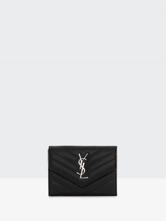 Saint Laurent YSL MONOGRAM 斜紋荔枝皮銀釦三折短夾 - 黑色