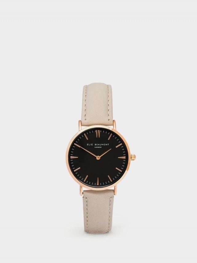 ELIE BEAUMONT 牛津系列 黑錶盤 x 褐皮革錶帶 x 玫瑰金錶框 38 mm
