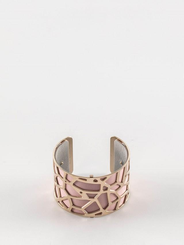 Les Georgettes 金色寬版長頸鹿紋手環 + 寬版手環皮革淺粉 / 淺灰
