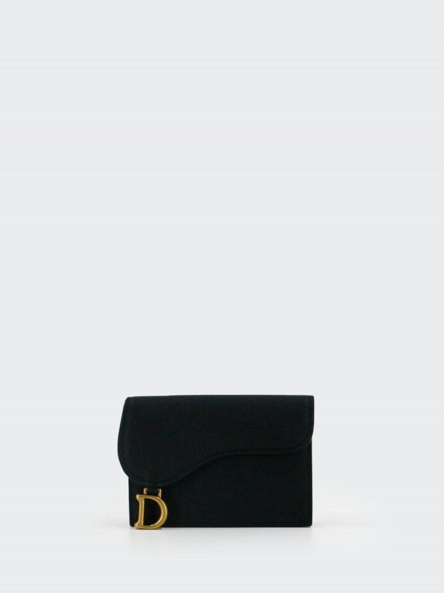Dior SADDLE 頂級小牛皮翻蓋式卡夾 x 黑色