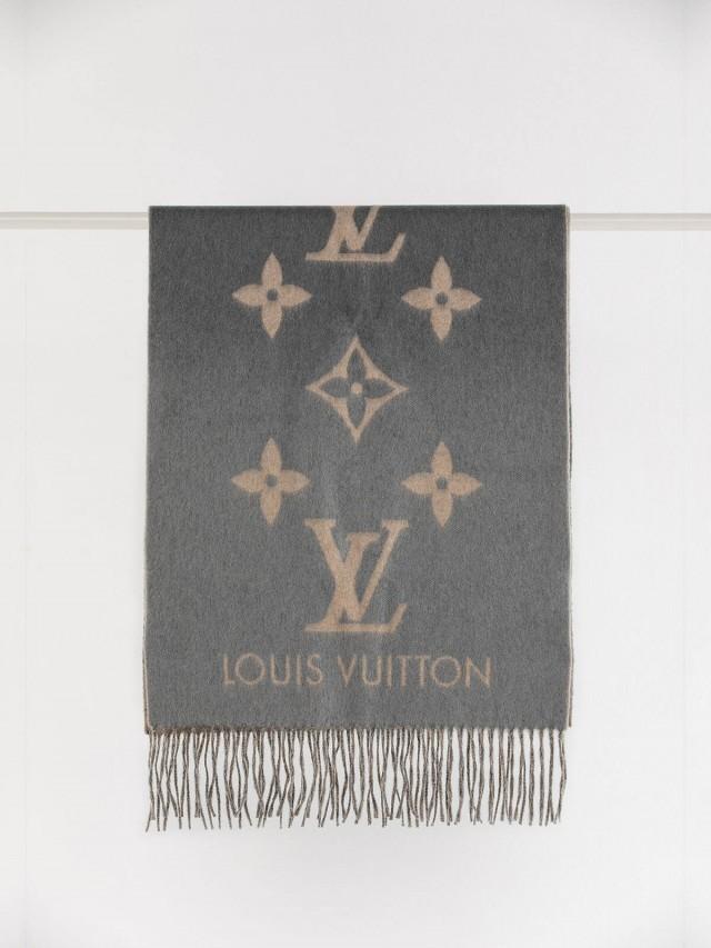 LOUIS VUITTON LV Reykjavik 系列 Monogram 羊絨雙面雙色針織圍巾 x 灰黑色