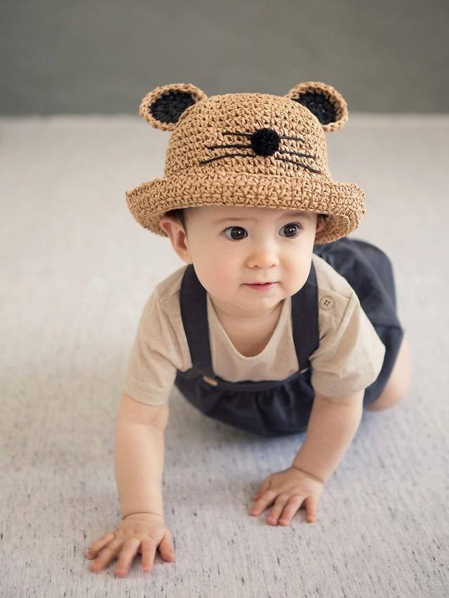 HAPPY PRINCE Happy Prince Lemming 嬰童小貓咪遮陽草帽 - 咖啡