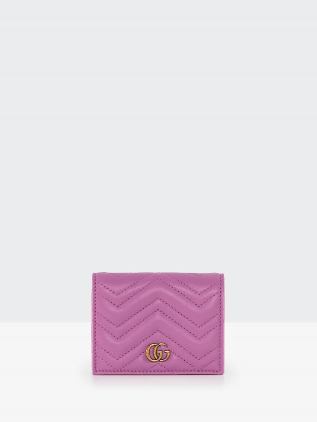 GUCCI matelasse 系列絎縫紋牛皮雙 G LOGO 暗釦卡夾 / 零錢包 - 桃粉色
