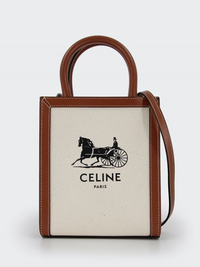CELINE CELINE 印花帆布拼小牛皮邊迷你直式馬車圖案 CABAS 手提 / 斜背包