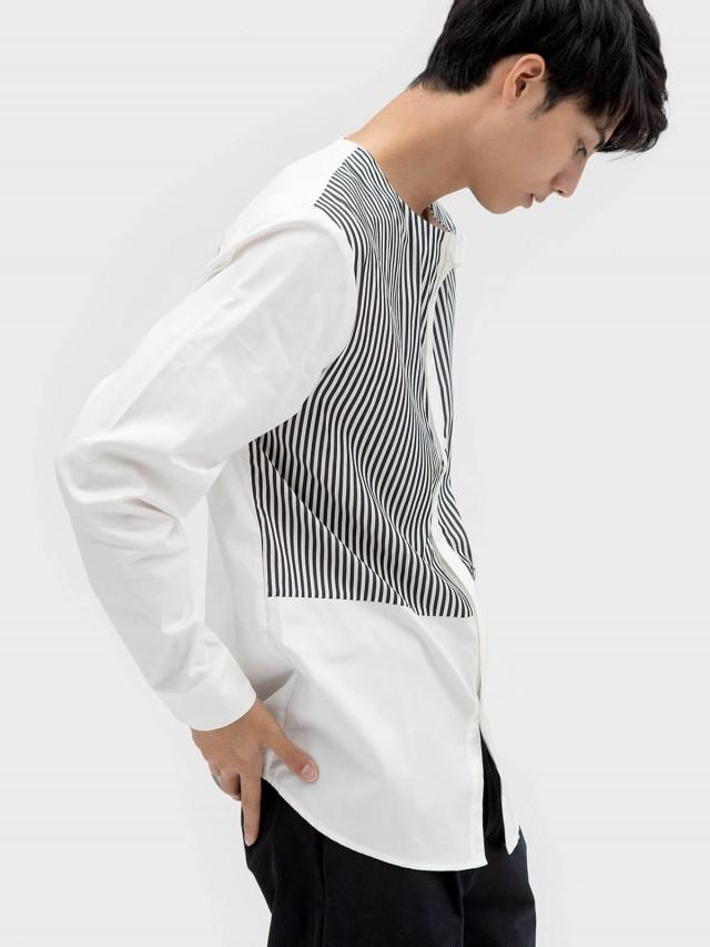 WEAVISM 【小人物】無領條紋拼接襯衫 - 黑白條