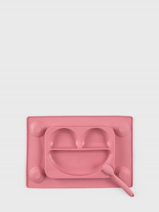 EasyTots EasyMat 防滑矽膠餐盤組 - 莓果粉