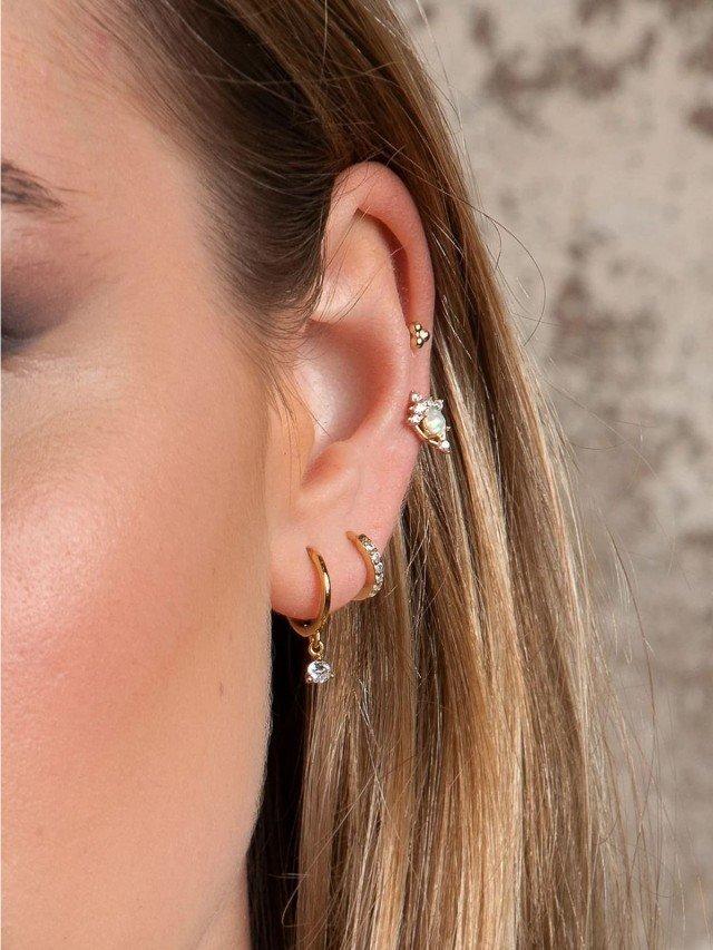 aleyolé 經典閃耀 925 純銀鍍 18K 金鋯石耳環