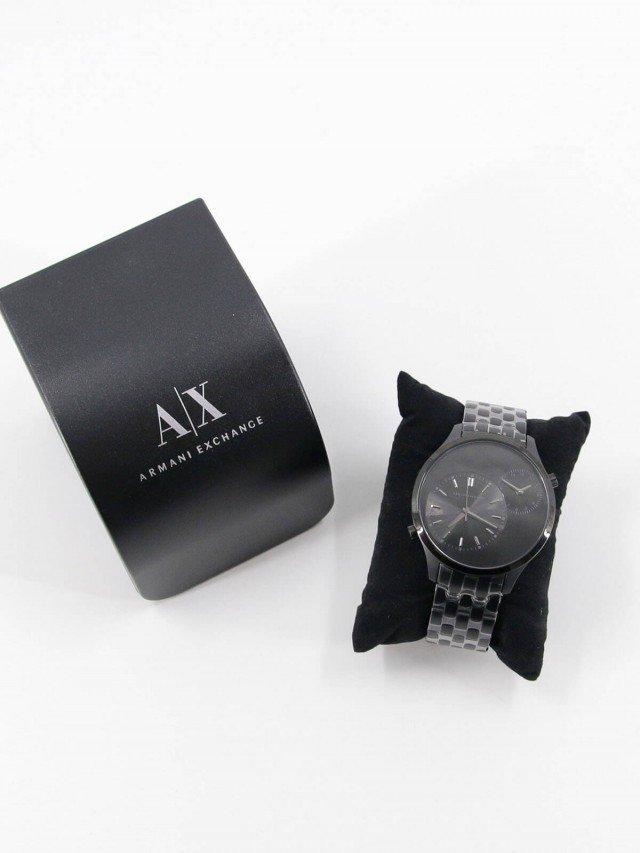 ARMANI EXCHANGE 城市旅人雙時區時尚鈦黑色腕錶