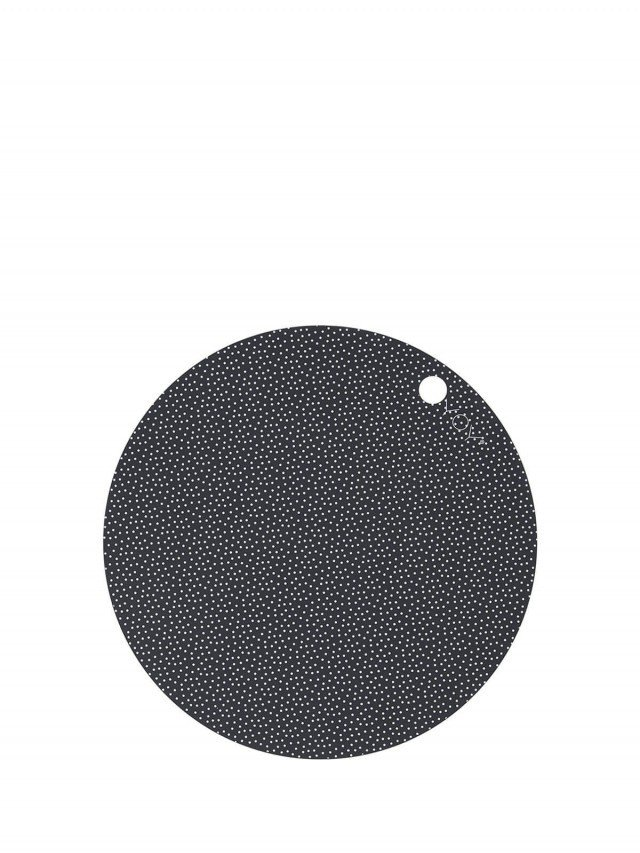 OYOY 圓形矽膠餐墊 - 黑白點點 ( 2入組 )