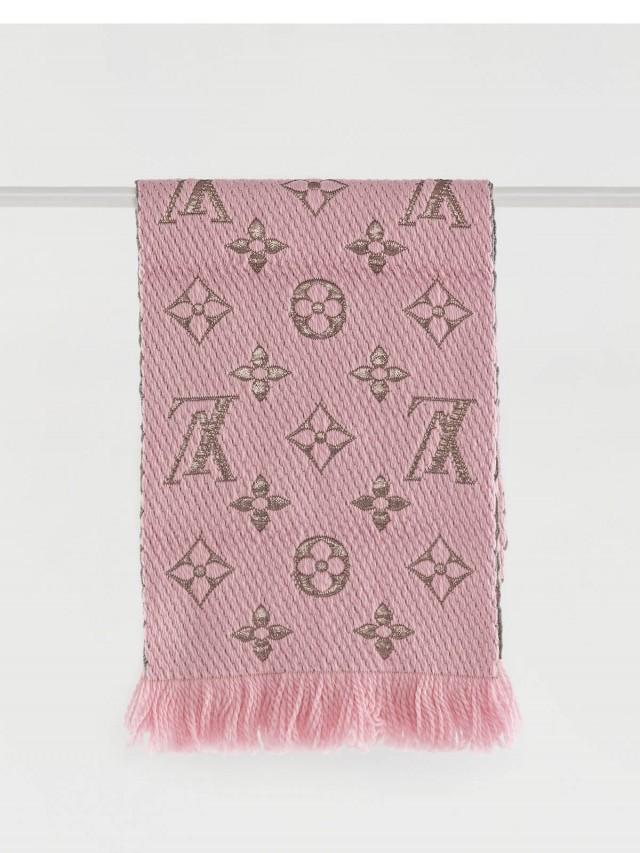 LOUIS VUITTON Monogram LOGOMANIA SHINE 金銀紗羊毛針織圍巾 - 粉紅