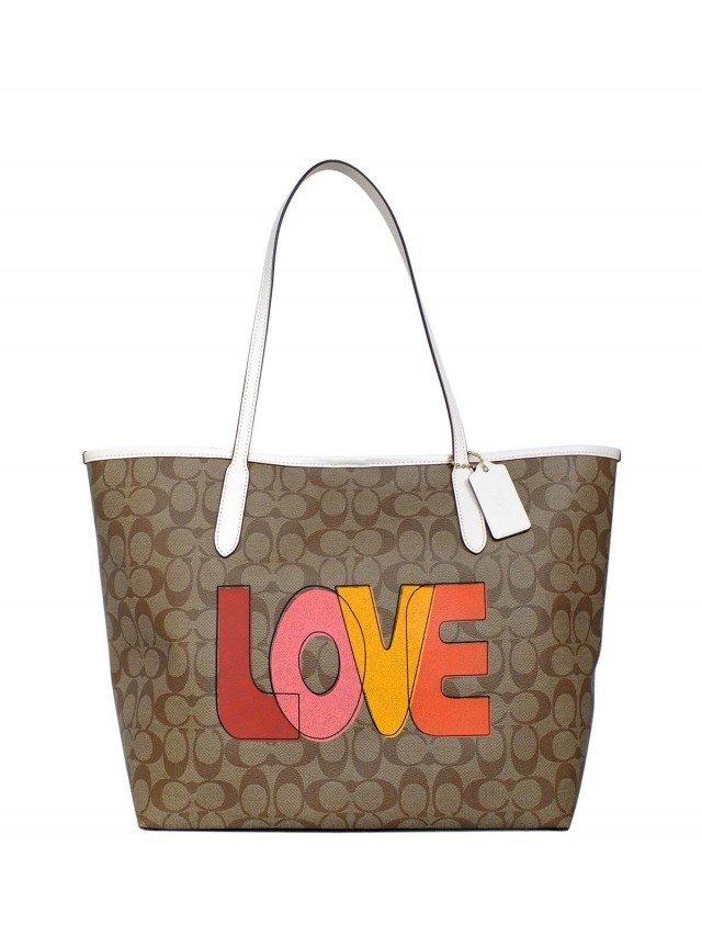 COACH 卡其 PVC C Logo LOVE 字印大款肩背托特包