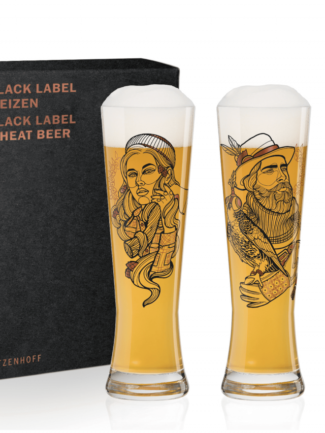 RITZENHOFF BLACK LABEL WEIZEN 黑標小麥啤酒對杯 / 划木工與訓鷹者