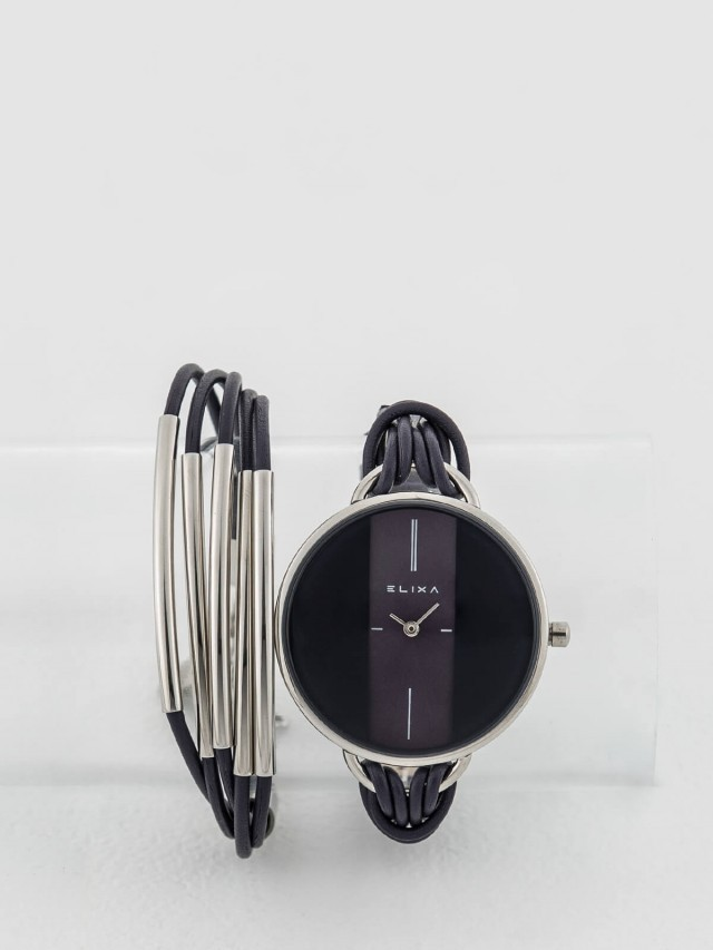 ELIXA 瑞士手錶 Finesse 精巧時間皮繩系列 x 手環組合 - 38 mm / 紫色