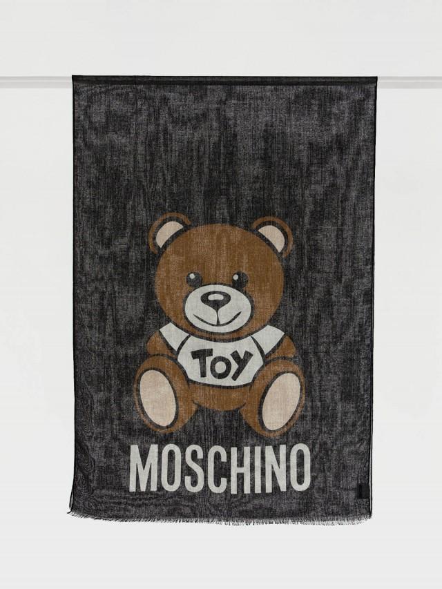 MOSCHINO TOY 熊熊薄款圍巾 x 黑色