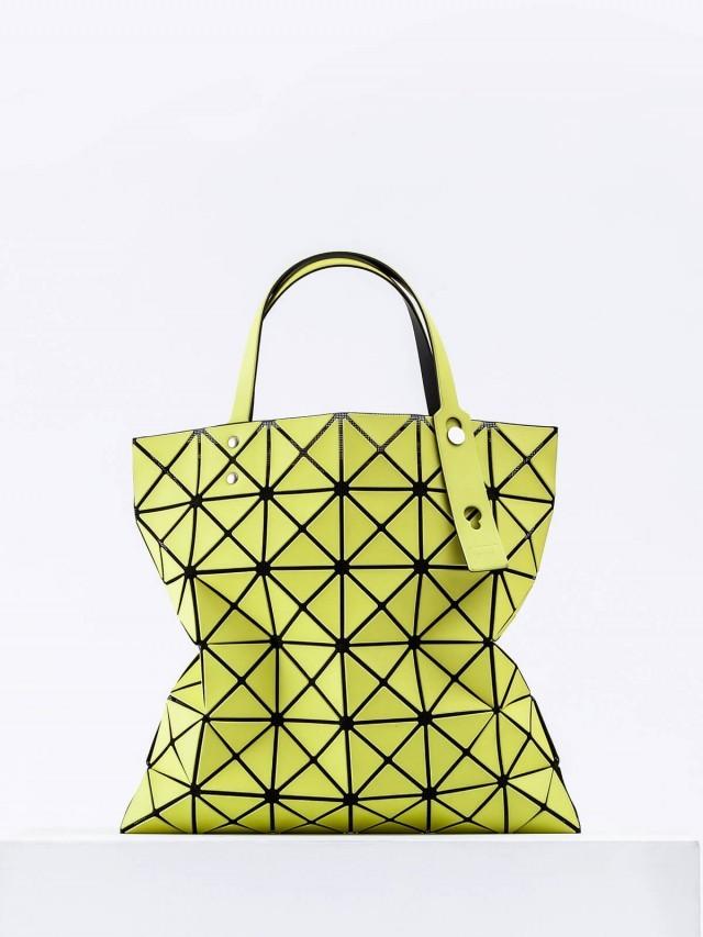 BAO BAO 三宅一生 幾何方格 6 x 6 霧面手提包 - 螢光黃