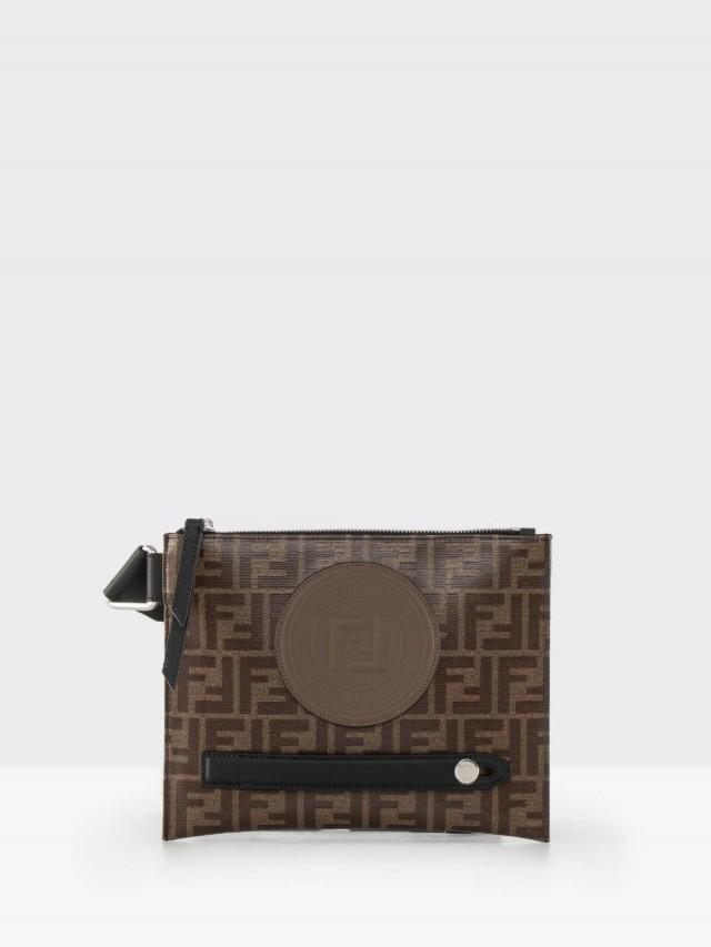 FENDI 品牌 LOGO 帆布包身牛皮飾邊拉鍊斜背包 - 棕