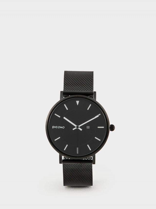 PICONO RGB 系列 -  輕薄黑色快拆式不鏽鋼網帶手錶 - 簡單白