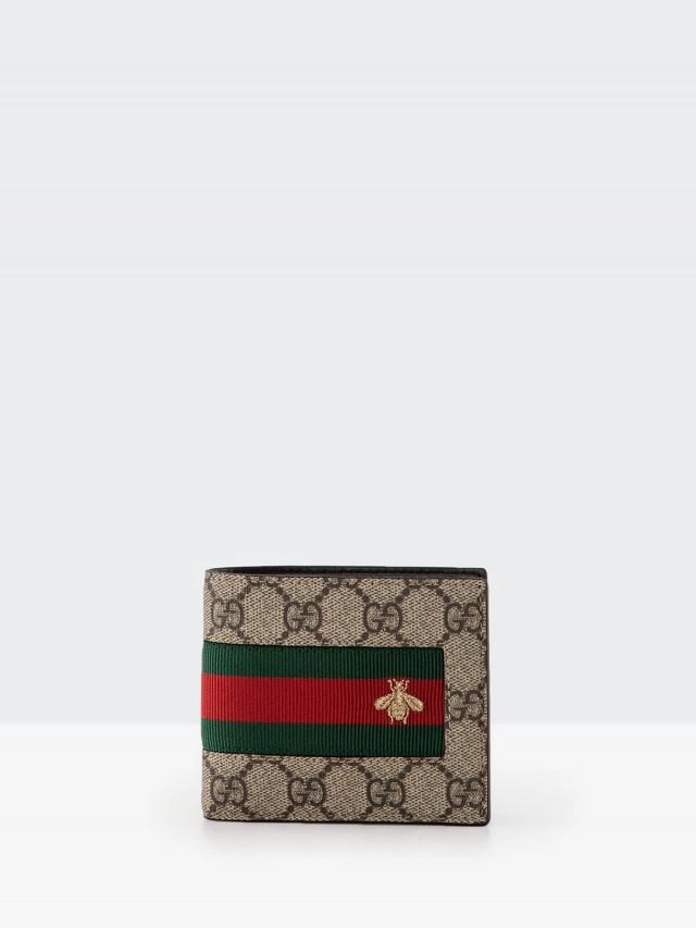 GUCCI GG Supreme 緹花布綠紅綠織帶蜜蜂刺繡圖案 8卡折疊短夾 - 棕