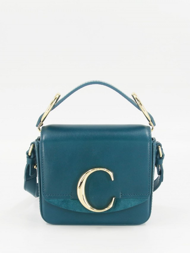 Chloé mini C bag 金屬 LOGO 滑面牛皮手提 / 肩背方包 x 海軍藍