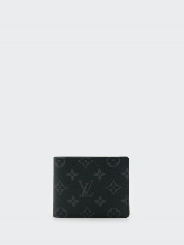 LOUIS VUITTON Monogram MULTIPLE Eclipse 短夾 - 灰黑