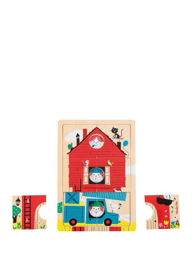 Moulin Roty 多層拼圖 - 可愛的家