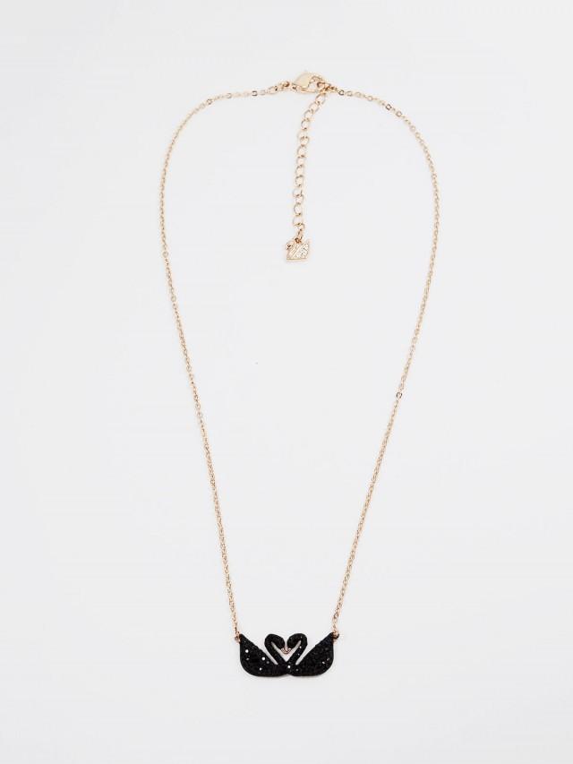 SWAROVSKI 黑天鵝造型玫瑰金項鍊