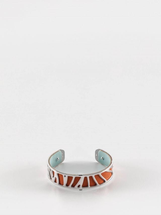 Les Georgettes 銀色細版鸚鵡紋手環 + 細版手環皮革橘 / 藍