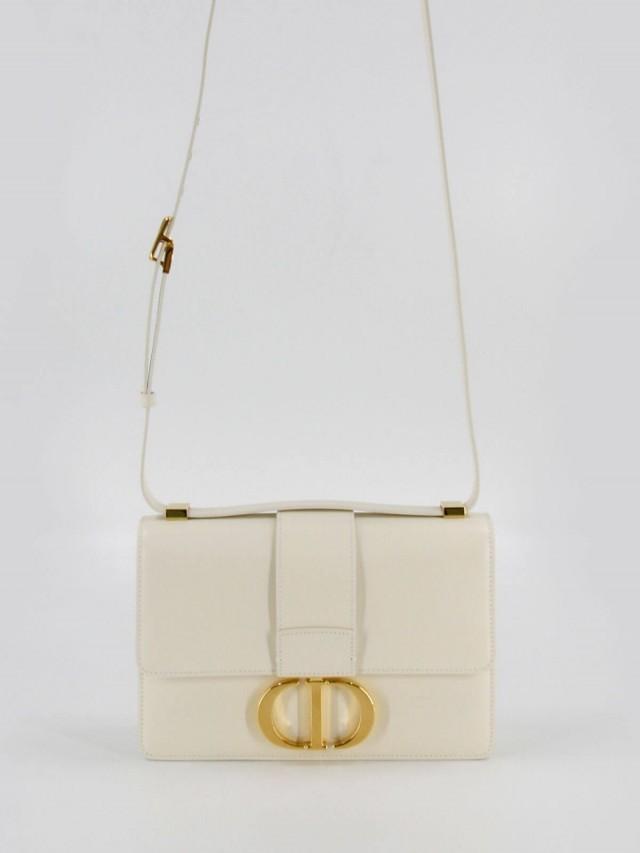 Dior 30 Montaigne 光滑頂級小牛皮 CD 字母翻蓋式手提 / 肩背包 x 白色