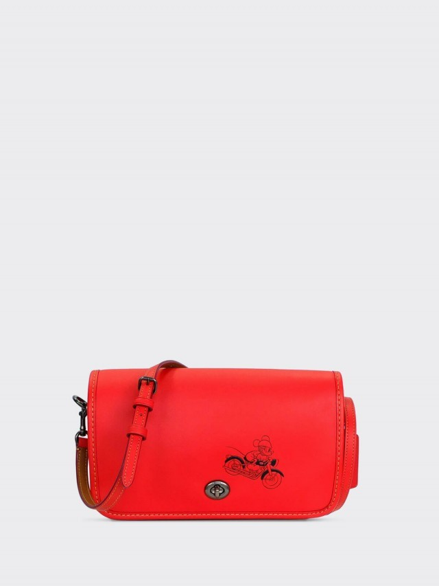 COACH 迪士尼聯名款米奇皮革斜背包 x 紅色