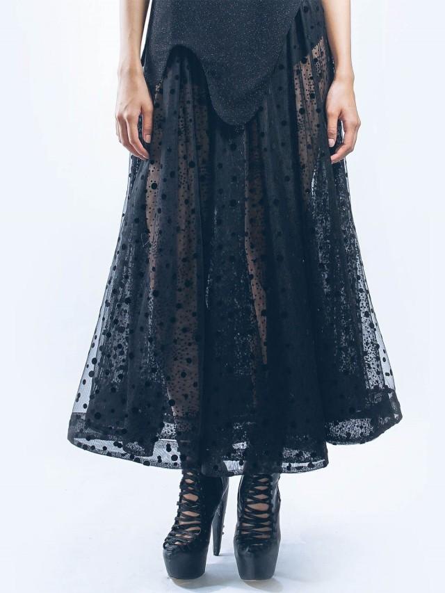 WANGLILING 紗質圓裙 - 黑斑斕