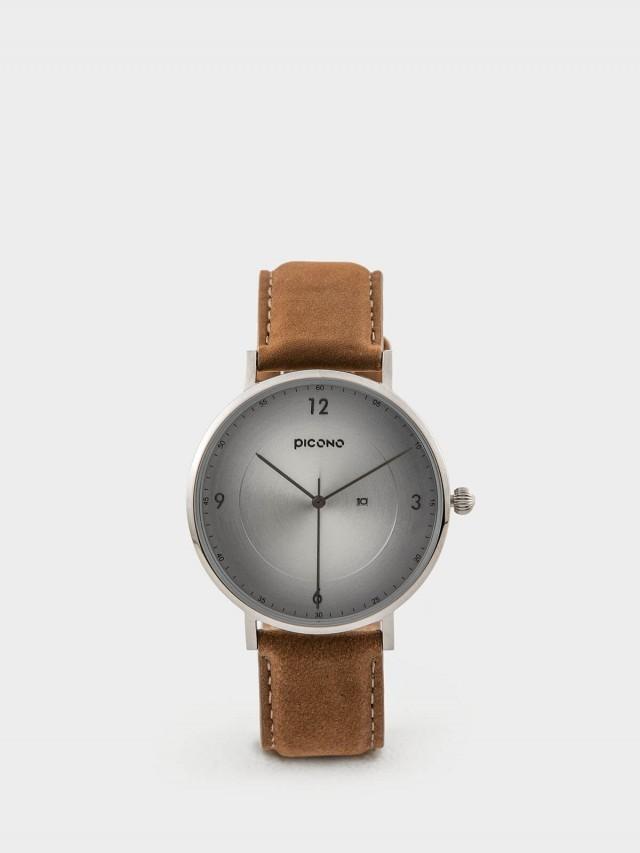 PICONO VINYL - 系列 輕薄真皮錶帶手錶 - 銀 / 銀