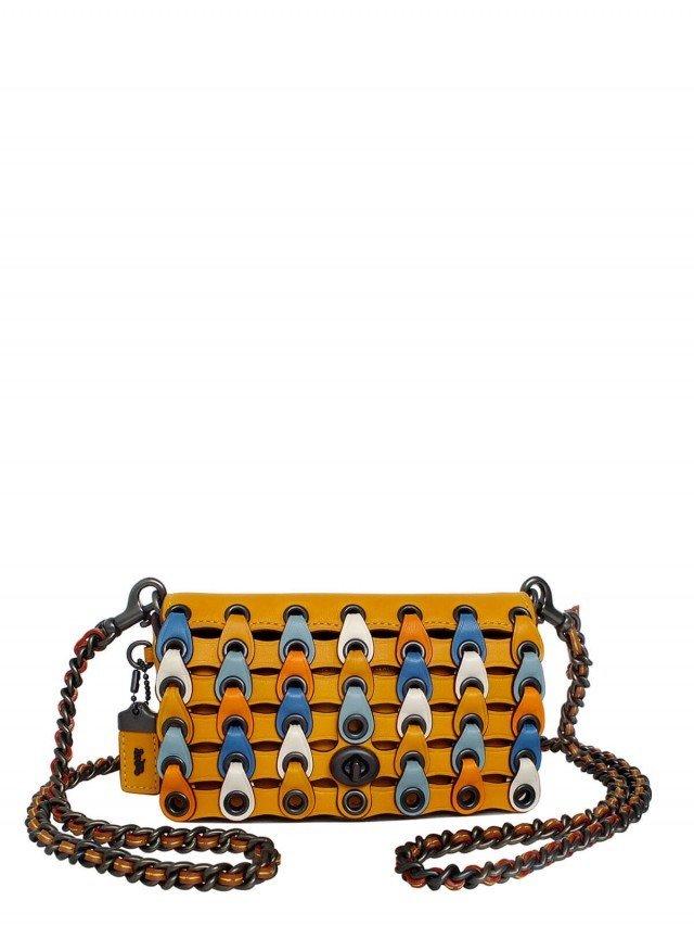 COACH 橙黃藍白多彩編織圓環復古風全皮迷你斜背包