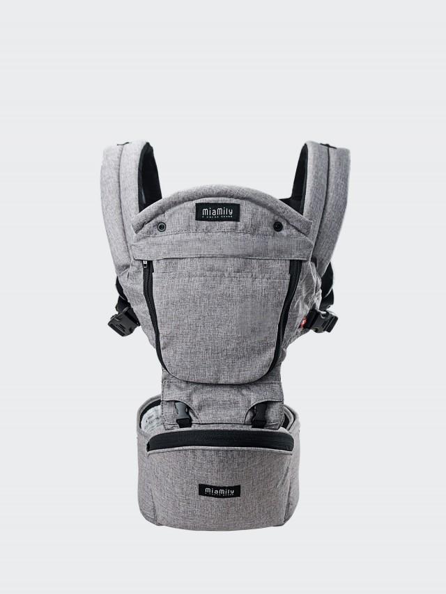 MiaMily 健康護脊坐墊型嬰兒背帶 - 淺灰