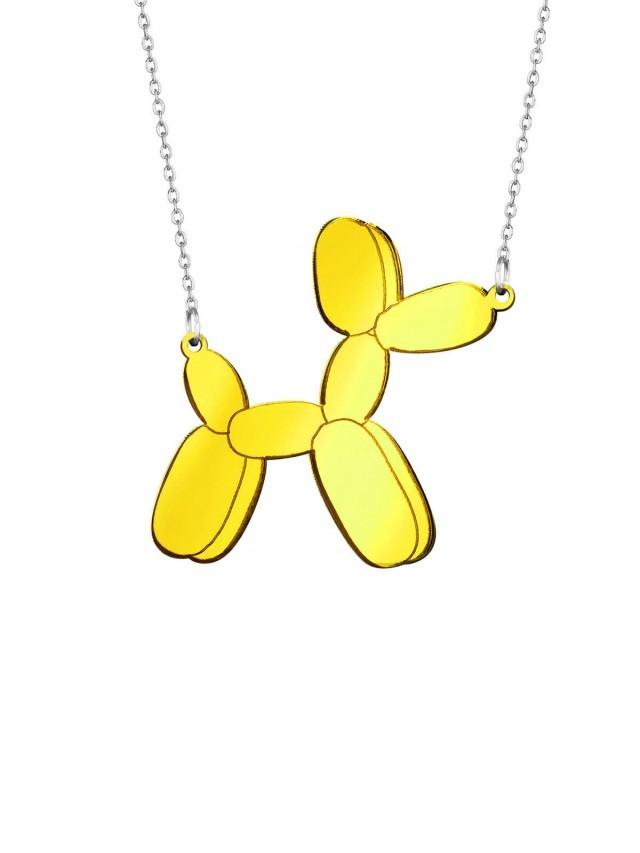 MONOLAMA 鏡面反光材質氣球狗項鏈 - 金色