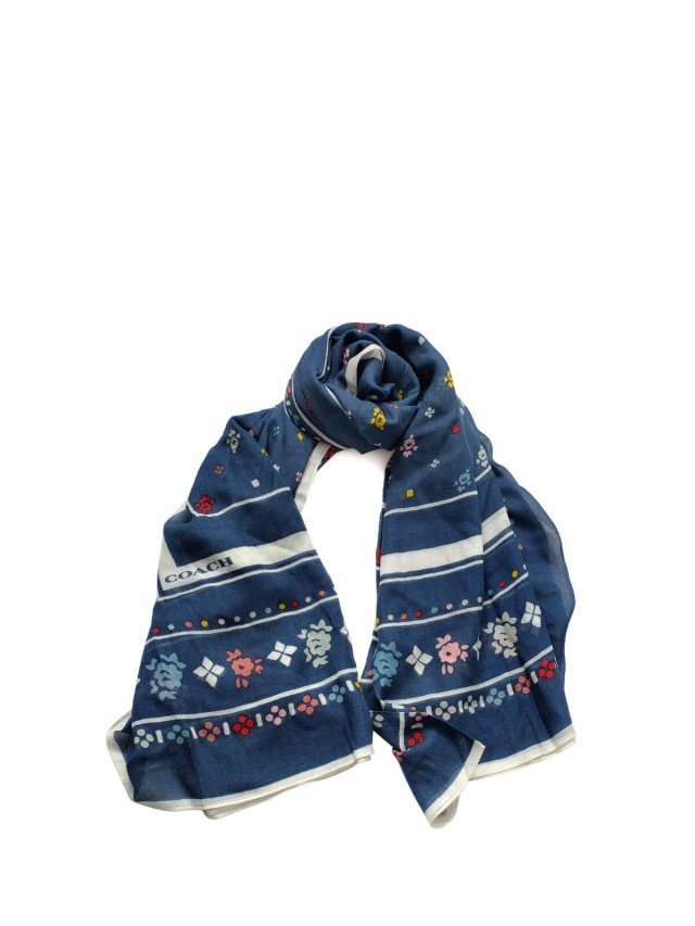 COACH 單寧藍彩色排列小碎花方型圍巾 ( 137 x 137  cm )