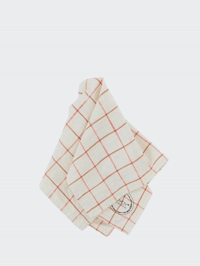 OYOY Gird 有機純棉格紋餐巾 - 清新紅白