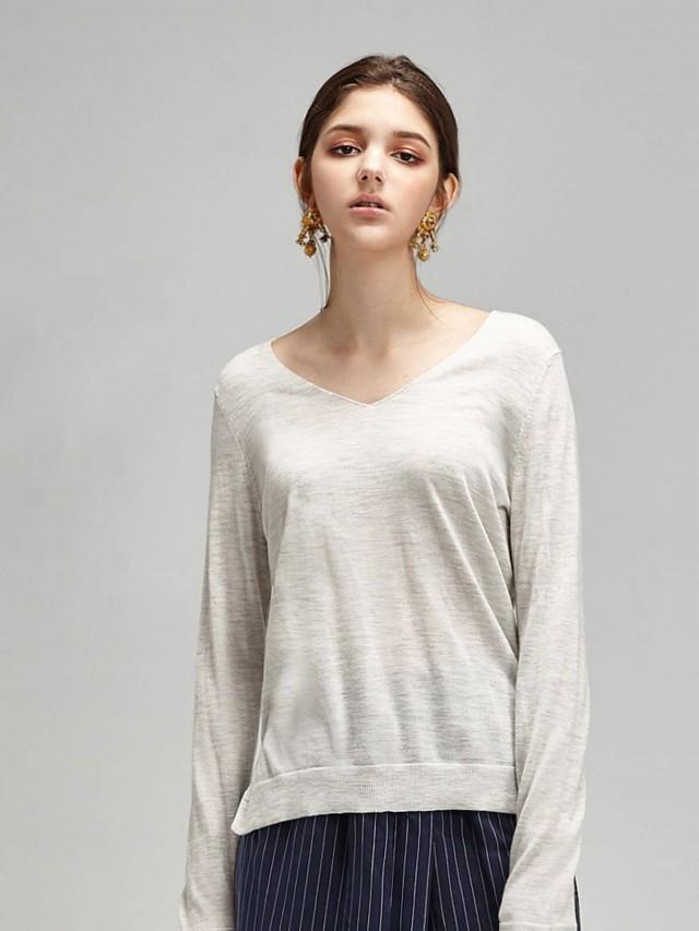 Carol Chugani 100% Cashmere V領側開叉寬鬆精紡羊絨上衣 - 淺灰