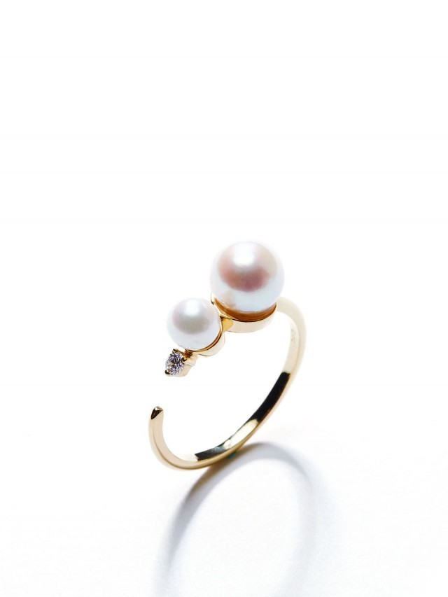ARTISMI Brave 系列 | 雙珍珠戒指 | 18K Gold Vermeil