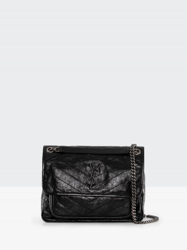Saint Laurent YSL 新款 niki 縫線斜紋黑字 LOGO 金屬中款肩揹 / 斜揹鍊帶包 x 黑色