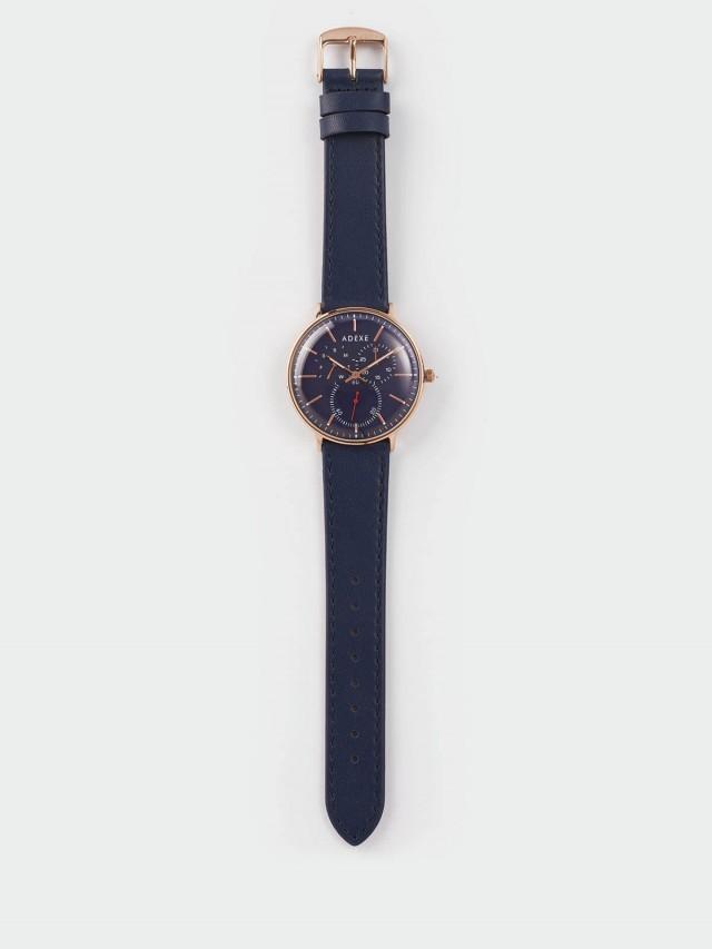 ADEXE THEY 三眼系列 藍錶盤 x 玫瑰金錶框 x 皮革錶帶 41 mm
