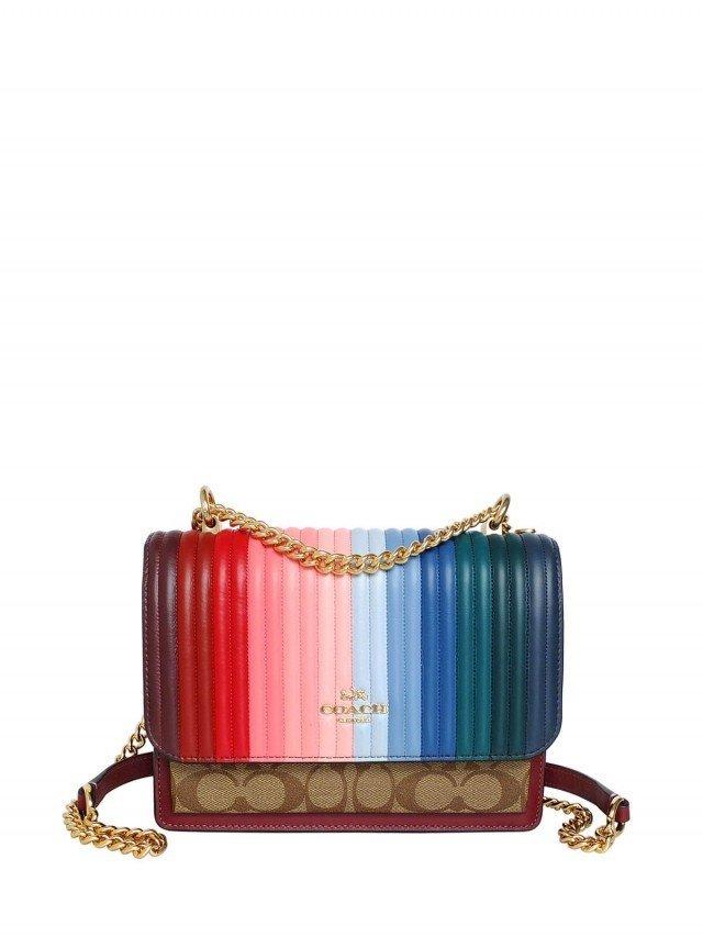 COACH 彩虹絎縫直紋真皮卡其 C 內雙層方型鍊帶斜背包