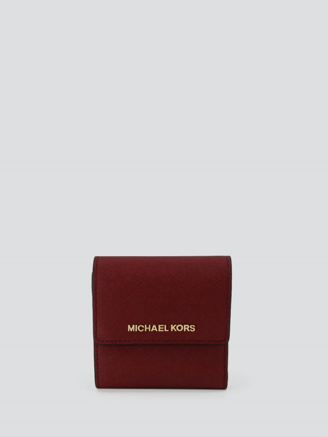 MICHAEL KORS 防刮真皮三折短夾 x 暗紅