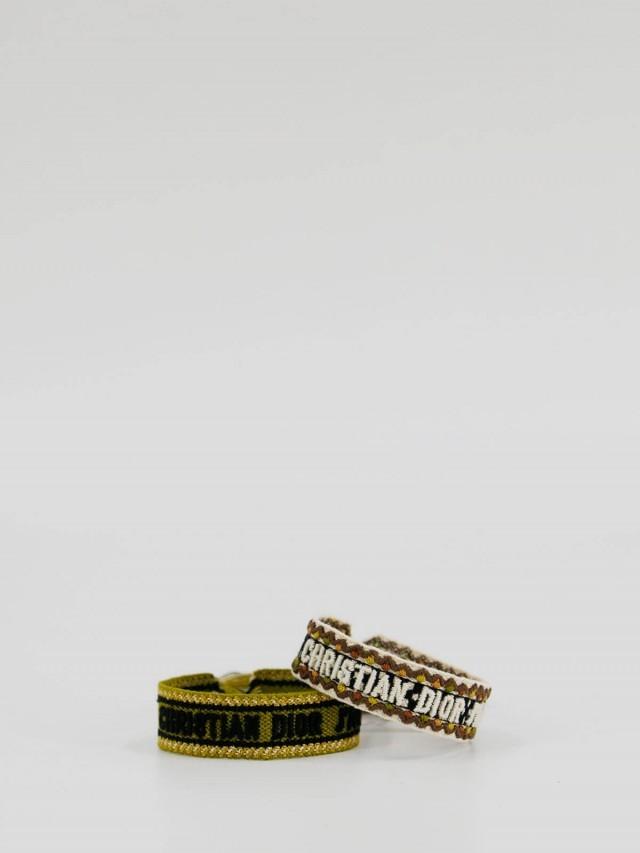 Dior J'adior 字母幸運編織手環 - 草綠 x 白色( 2 副 1 組 )